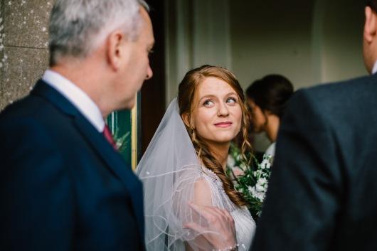 Dalduff Farm Ayrshire Wedding Pre Ceremony Bride and Father of Bride Moment