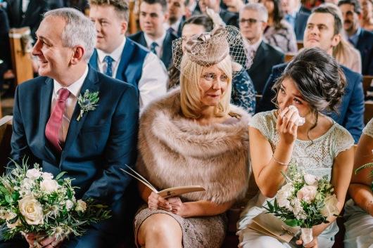 Dalduff Farm Ayrshire Wedding Church Ceremony Bridesmaid Mother of Bride Crying