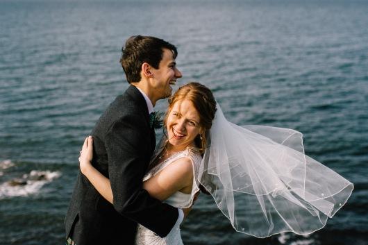 Dalduff Farm Ayrshire Wedding Couple Portraits Laughing