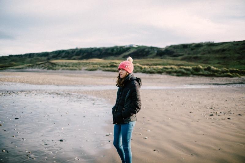 white park bay beach winter walks cliffs green friend bobble hat wrapped up