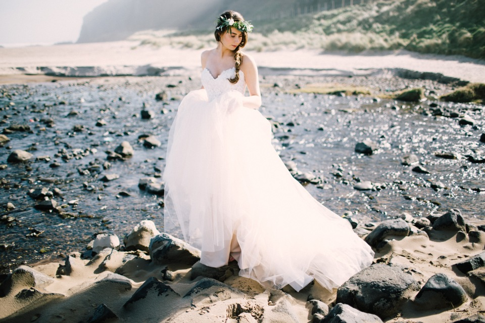 styled bridal shoot downhill beach northern ireland floral crown ethereal dress braided hair